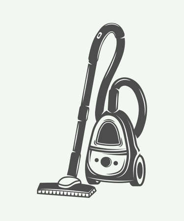 Vintage vacuum cleaner in retro style. Monochrome Graphic Art. Vector Illustration. Illustration
