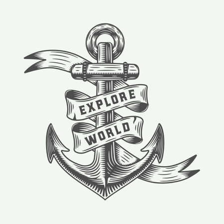Vintage anchor in retro style with adventures typography.