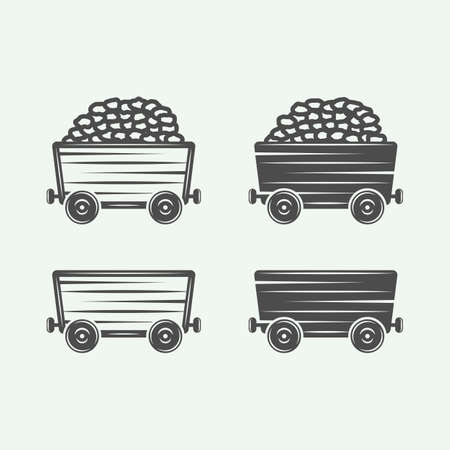 Mining coal carts van in retro vintage style. Graphic Art. Vector Illustration. Ilustrace