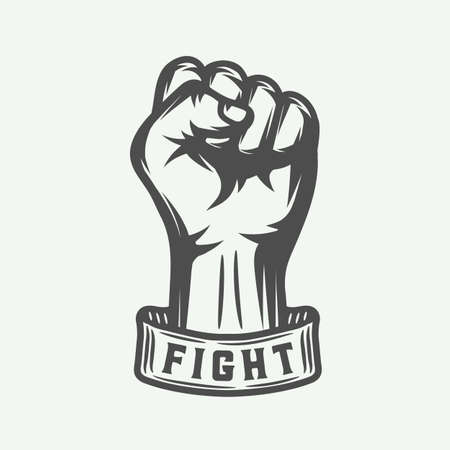 Retro fist in vintage style with typography. Graphic art. Vector illustration.