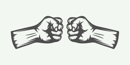 Retro two fists in vintage style. Graphic art. Vector illustration. Illustration