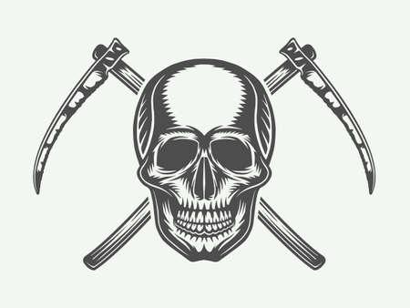 Vintage Halloween skull with cross scythes
