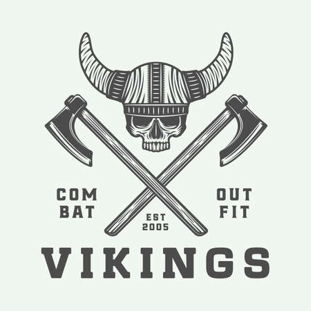 Vintage vikings logo, label, emblem, badge in retro style with quote. Monochrome Graphic Art. Vector Illustration. Illustration