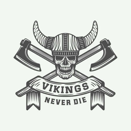 Vintage vikings motivational logo,