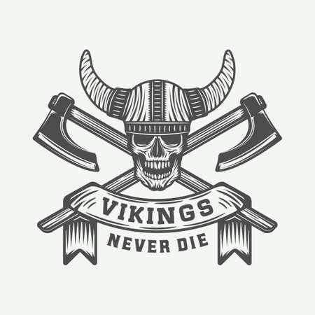 Vintage vikings motivational logo,