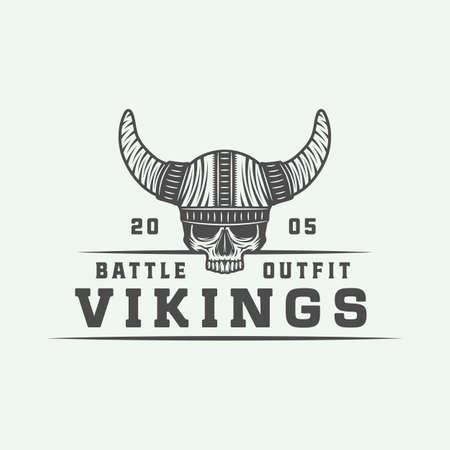 Vintage vikings motivational logo.