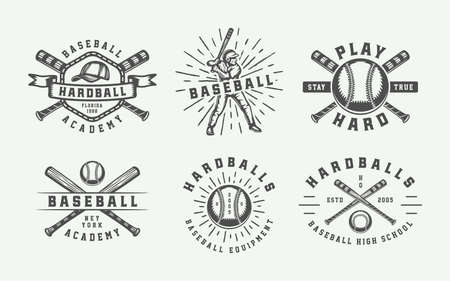 Vintage baseball sport logos, emblems, badges, marks, labels. Monochrome Graphic Art. Illustration. Illustration