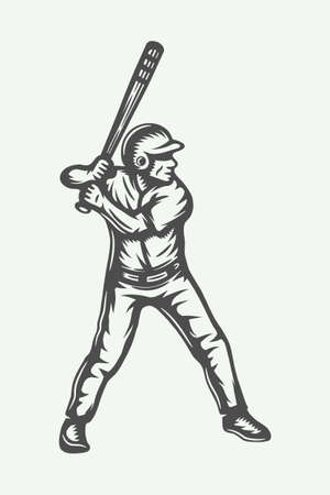 Vintage baseball poster, template, banner in retro style. Graphic Art Vector Illustration.