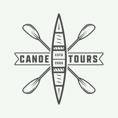 Vintage rafting and canoe logo, label or badge Illustration.