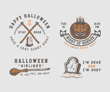 Vintage retro Halloween logos, emblems Illustration Vector.