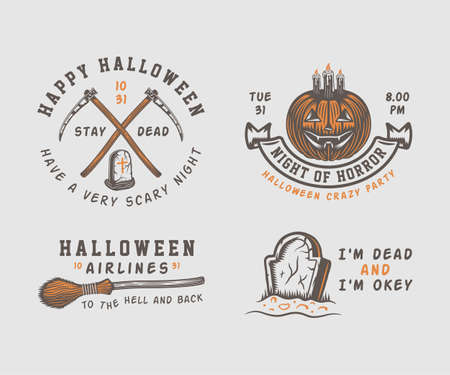 Vintage retro Halloween logos, emblems Illustration Vector.