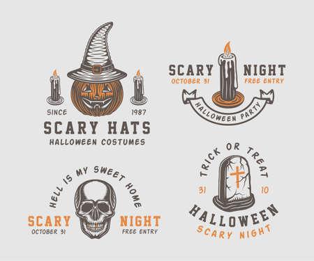 Vintage retro Halloween logos Illustration Vector.