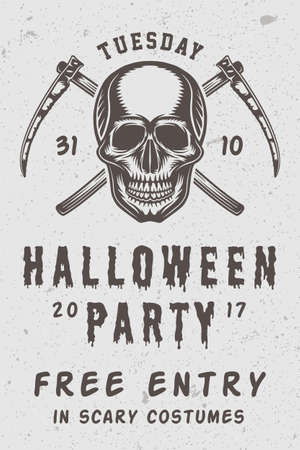 Vintage retro Halloween scary poster with skull and cross scythes. A Monochrome Graphic Art Illustration Vector.