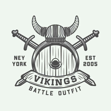 Vintage vikings motivational logo, label, emblem, badge in retro style with quote. A  Monochrome Graphic Art Vector Illustration. Vettoriali
