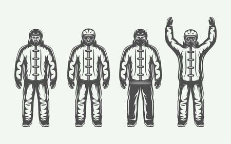 Set of four men in ski suits with one holding hands up Иллюстрация