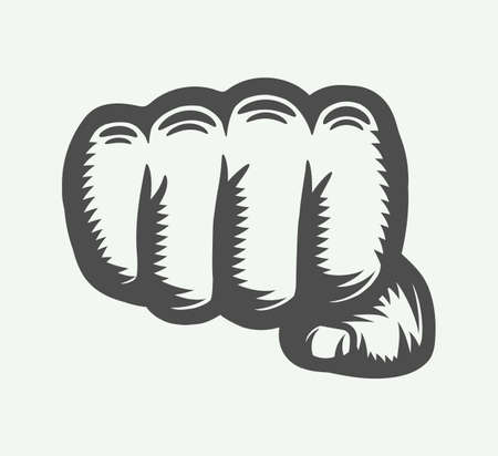 Retro fist in vintage style. Graphic art. Vector illustration. Imagens - 98849340