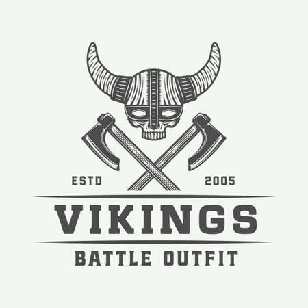 Vintage vikings, skull and axe graphic design in retro style with text in Monochrome Graphic Art Illustration. Illustration