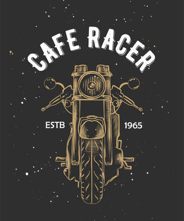 Vector card with hand drawn unique typography design element for greeting cards, decoration, prints and posters. Cafe racer with sketch of motorcyrcle. Handwritten lettering.  イラスト・ベクター素材