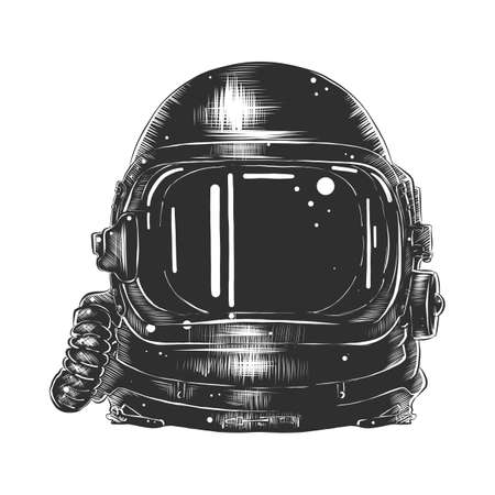 Vector engraved style illustration for posters, decoration and print. Hand drawn sketch of astronaut helmet in monochrome isolated on white background. Detailed vintage woodcut style drawing.