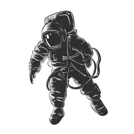 Vector engraved style illustration for posters, decoration and print. Hand drawn sketch of astronaut in monochrome isolated on white background. Detailed vintage woodcut style drawing.