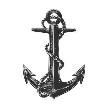 Vector engraved style illustration for posters, decoration and print. Hand drawn sketch of ship anchor with rope in monochrome isolated on white background. Detailed vintage woodcut style drawing.