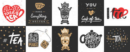 Set of vector tea lettering posters, greeting cards, decoration, prints. Hand drawn typography design elements. Handwritten lettering. Modern ink brush calligraphy.