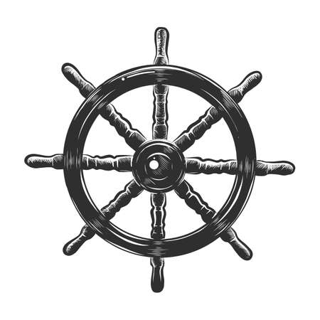 Vector engraved style illustration for posters, decoration and print. Hand drawn sketch of ship wheel in monochrome isolated on white background. Detailed vintage woodcut style drawing. Ilustração