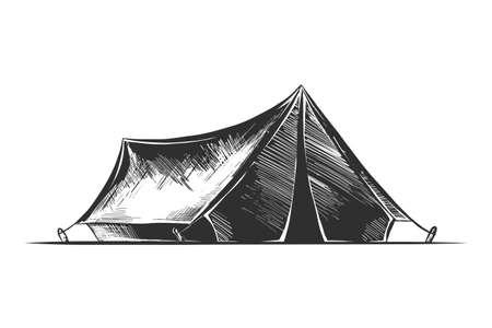 Illustration de style gravé de vecteur pour affiches, décoration et impression. Croquis dessiné main de tente de camping en monochrome isolé sur fond blanc. Dessin de style de gravure sur bois vintage détaillé. Vecteurs