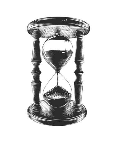 Vector engraved style illustration for posters, decoration and print. Hand drawn sketch of hourglass in monochrome isolated on white background. Detailed vintage woodcut style drawing. Illustration