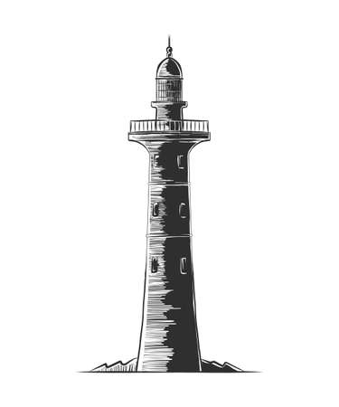 Vector engraved style illustration for posters, decoration and print. Hand drawn etching sketch of lighthouse in monochrome isolated on white background. Detailed vintage woodcut style drawing. Vektorové ilustrace