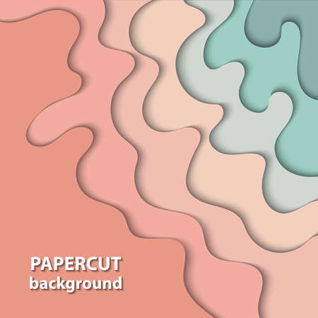Vector background with pastel nude, beige and light green color paper cut shapes. 3D abstract paper art style, design layout for business presentations, flyers, posters, prints, decoration, cards,