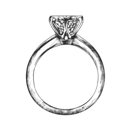 Vector engraved style illustration for posters, decoration and print. Hand drawn sketch of engagement ring in monochrome isolated on white background. Detailed vintage woodcut style drawing.