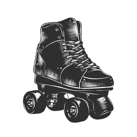 Vector engraved style illustration for posters, decoration and print. Hand drawn sketch of retro roller skates in monochrome isolated on white background. Detailed vintage woodcut style drawing.