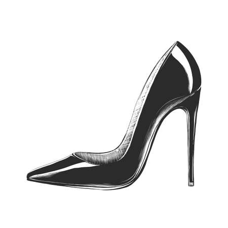 Vector engraved style illustration for posters, decoration and print. Hand drawn sketch of women's high heel shoe in monochrome isolated on white background. Detailed vintage woodcut style drawing. Imagens - 106312183