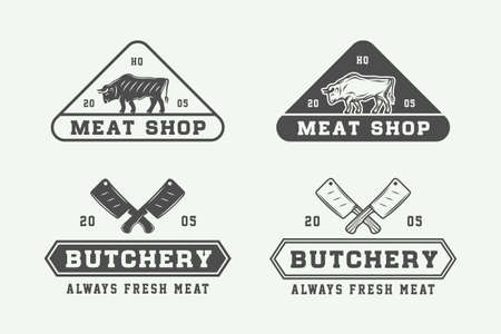 Set of vintage butchery meat, steak or bbq logos, emblems, badges, labels. Graphic Art. Vector Illustration.  イラスト・ベクター素材