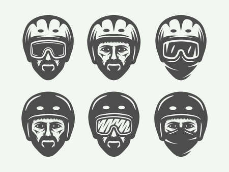 Set of vintage snowboarding, ski or winter head logos, badges, emblems and design elements. Vector illustration. Monochrome Graphic Art. Ilustracja