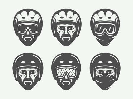 Set of vintage snowboarding, ski or winter head logos, badges, emblems and design elements. Vector illustration. Monochrome Graphic Art. Illustration