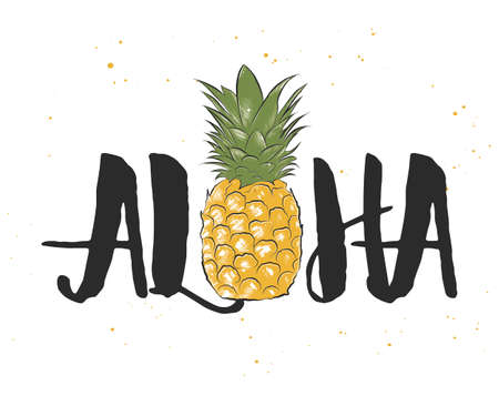 Vector card with hand drawn unique Hawaiian typography design element for greeting cards, decoration, prints and posters. Aloha with sketch of pineapple in engraved style. Modern ink calligraphy.