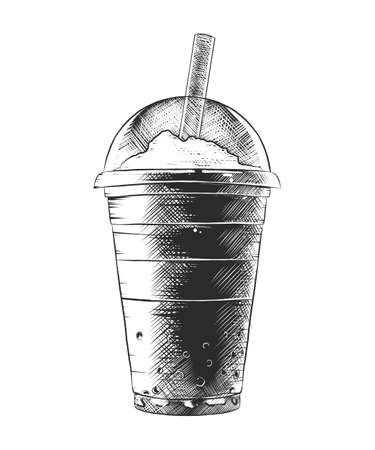 Vector engraved style illustration for posters, decoration and print. Hand drawn sketch of summer milkshake, monochrome isolated on white background. Detailed vintage woodcut style