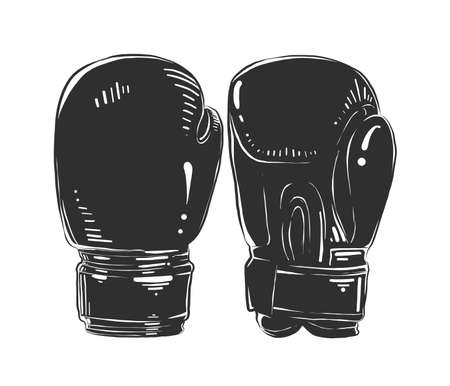 Vector engraved style illustration for posters, decoration and print. Hand drawn sketch of boxing gloves in monochrome isolated on white background. Detailed vintage woodcut style drawing. Ilustración de vector