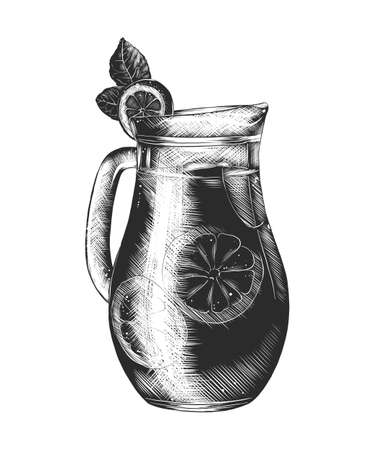 Vector engraved style illustration for posters, decoration and print. Hand drawn sketch of lemonade glass in monochrome isolated on white background. Detailed vintage woodcut style drawing.
