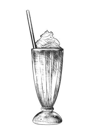 Illustration de style gravé de vecteur pour affiches, décoration et impression. Croquis dessiné main de milkshake en monochrome isolé sur fond blanc. Dessin de style de gravure sur bois vintage détaillé.