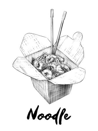 Vector engraved style illustration for posters, decoration and print. Hand drawn sketch of noodles box in monochrome isolated on white background. Detailed vintage woodcut style drawing. Vektorové ilustrace