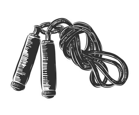 Vector engraved style illustration for posters, decoration and print. Hand drawn sketch of jump rope in monochrome isolated on white background. Detailed vintage woodcut style drawing.