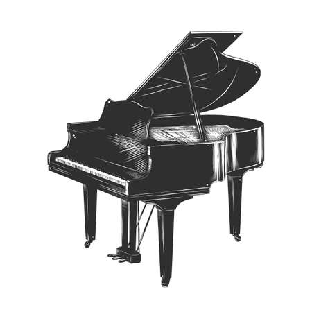 Vector engraved style illustration for posters, decoration and print. Hand drawn sketch of piano in monochrome isolated on white background. Detailed vintage woodcut style drawing. Illustration