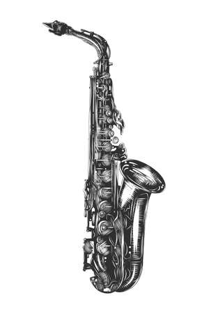 Vector engraved style illustration for posters, decoration and print. Hand drawn sketch of saxophone in monochrome isolated on white background. Detailed vintage woodcut style drawing.
