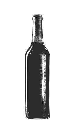 Vector engraved style illustration for posters, decoration and print. Hand drawn sketch of a bottle of wine, monochrome isolated on white background. Detailed vintage woodcut style Векторная Иллюстрация