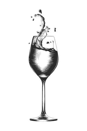 Vector engraved style illustration for posters, decoration and print. Hand drawn sketch of a a glass of wine with a splash, monochrome isolated on white background. Detailed vintage woodcut style
