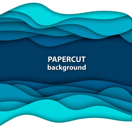 Vector background with deep blue and white color paper cut shapes. 3D abstract paper art style, design layout for business presentations, flyers, posters, prints, decoration, cards, brochure cover.