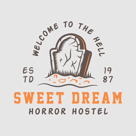 Vintage retro halloween theme design template suitable for logo, emblem, badge, label, mark, patches, t-shirt